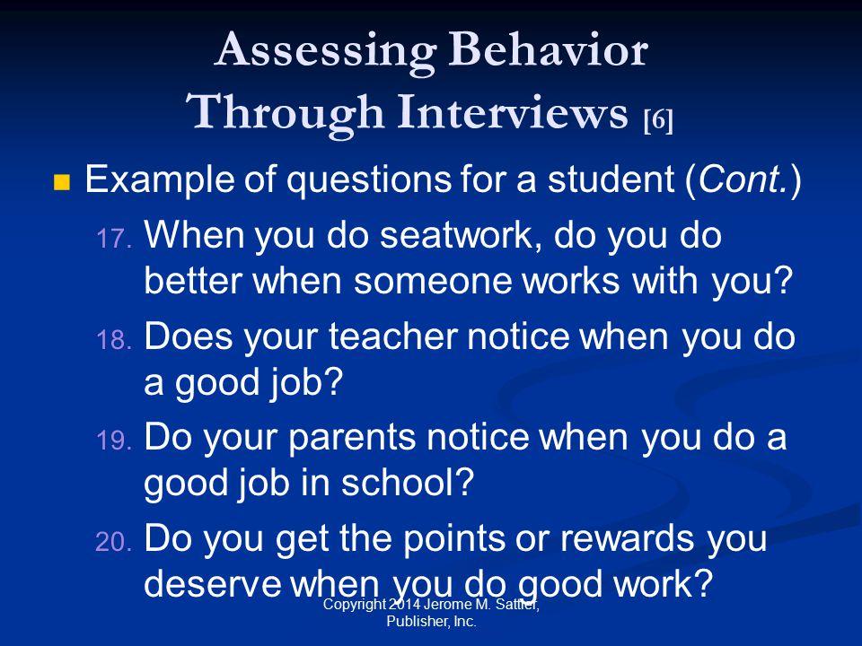 Assessing Behavior Through Interviews [6]
